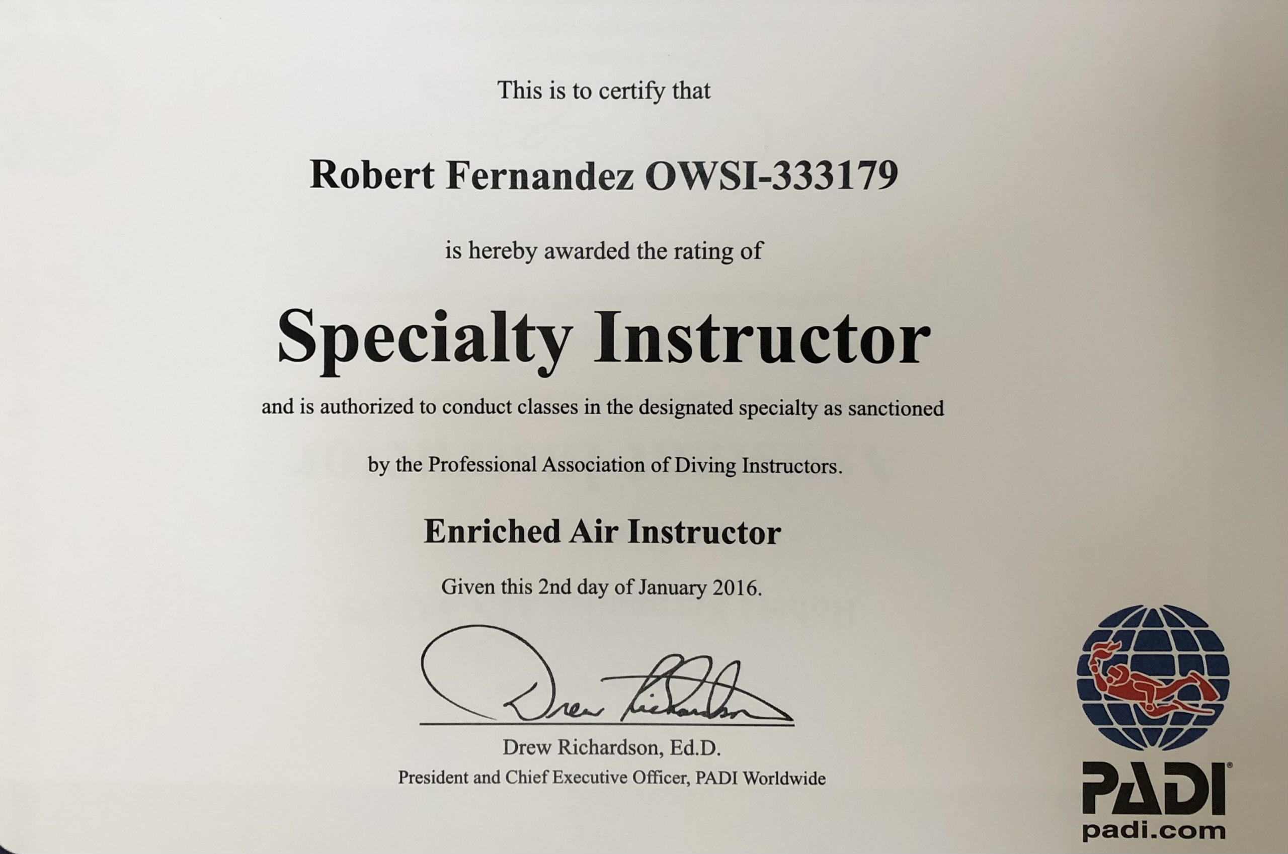 enriched air instructor